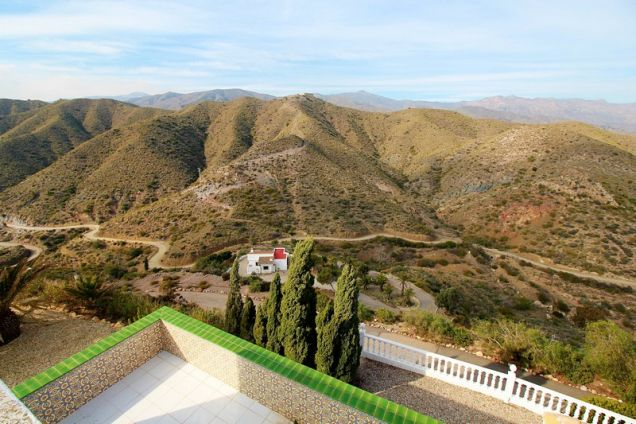 Views inland with the smaller 2 bed villa below